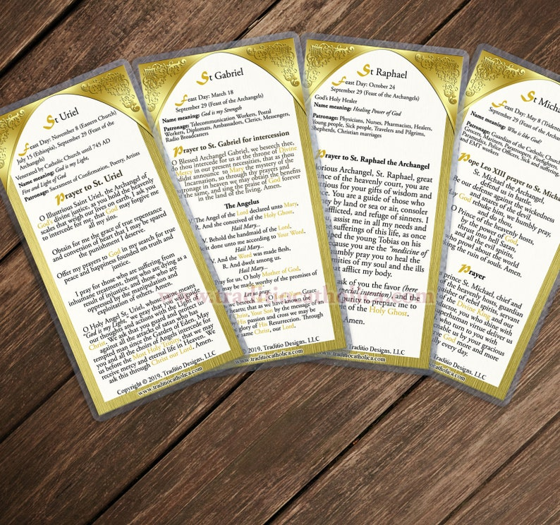 Four Archangels Eastern Orthodox Icon style Holy Prayer card set  10% OFF   Saint Uriel, Saint Michael, Saint Raphael, Saint Gabriel  5mil