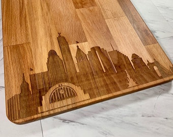Cincinnati Skyline - LARGE - Laser Engraved Cutting Board