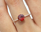 Garnet engagement ring, Red garnet engagement ring, January birthstone, garnet ring, anniversary ring, promise ring, Garnet and diamond