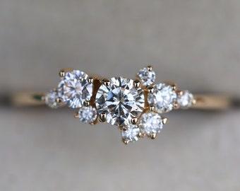 Moissanite Engagement Cluster ring, Cluster ring, Alternate Diamond ring, Stacking Diamond ring, Stacking ring, Moissanite stacking ring,