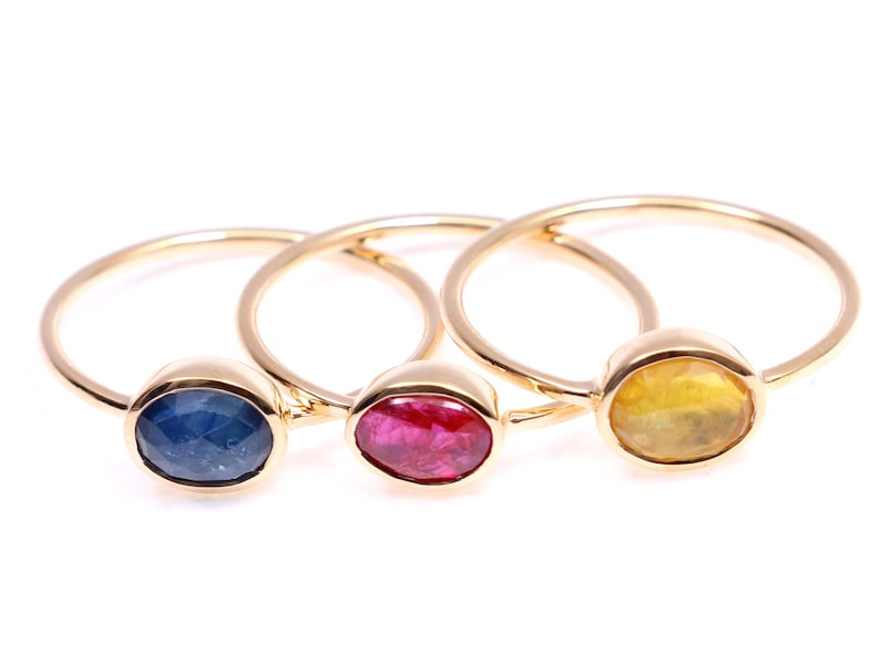 Sapphire ring Yellow  sapphire Solid gold Gift for her Rose cut sapphire ring Stacking ring sapphire ring Yellow  sapphire ring