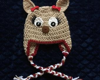 0bdf23d3f25 Crochet Reindeer Rudolph hat Baby Girl Earflap Newborn