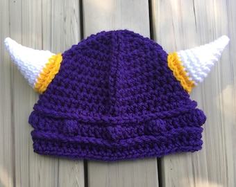 b39648926ad0d9 Crochet Viking Hat Preemie, newborn, toddler Perfect helmet for baby girl  or boy newborn photos take home outfit, NFL Kids Minnesota Vikings