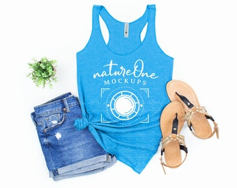 Teal Dye Sublimation Tank Top Summer Turquoise blue Floral Happy Camper Cute Camping Watercolor Flowers Boho Racerback