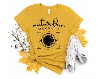 Fall 3001 Heather Mustard Bella Canvas Mockup, Fall Unisex Thanksgiving T-Shirt Mock Up, Fall Lifestyle Tee Shirt Flat Lay Styled Mockup