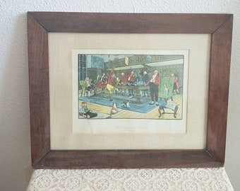 Cecil Aldin 1900 antique chromolitograph print The Fallowfield Hunt The Hunt  Supper framed under glass