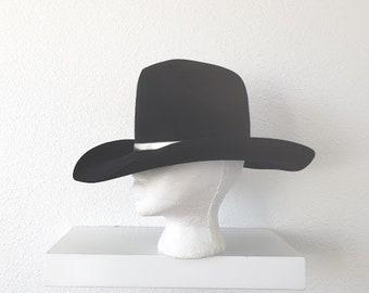 Vintage Hillson s western wear resistol felt black silver cowboy hat made  in Texas 8f97c679d4d4