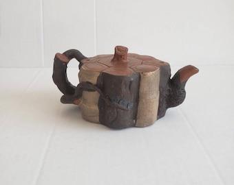 TANGPIN TEA-Handmade Zisha Teapot from Yixing Tree Stump Purple Clay Tea Pot Signed