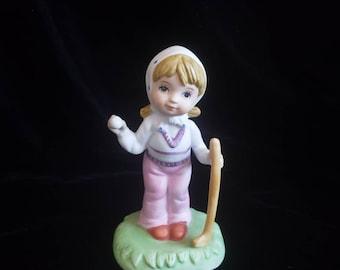 Bisquit porcelain girl playing golf figurine vintage made in Korea