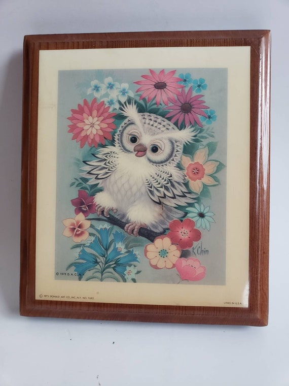 Donald Art Co. Inc NY Owl Lithograph Picture