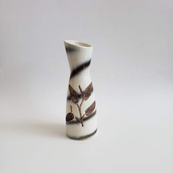 Japanese  ceramic carved plant  flower bud vase
