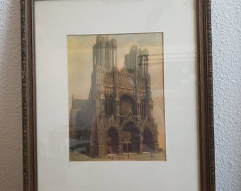 Circa late 1800s era print framed in a wood glass frame  Rheims Cathedral 3932 Lithograph ?