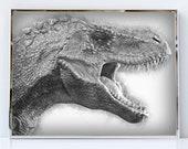 Allosaurus painting wall art portrait velociraptor dinosaur artwork canvas print paint t rex dino head face wall decor art prints for sale