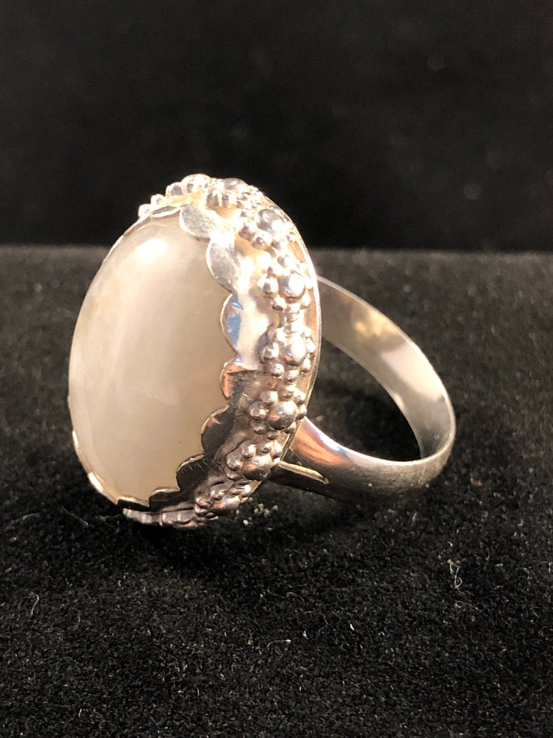 10.5 RIng Sterling Silver and Oval Moonstone Size