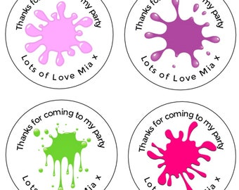 24 x BABY SHOWER PERSONALISED ROUND STICKERS LABELS READY TO POP PARTY FAVORS D4