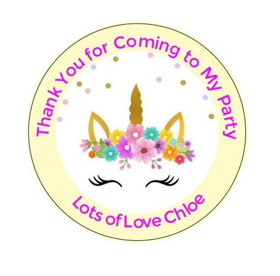 gopartypieces Personalised Unicorn Birthday Stickers For Party Thank You Sweet Cone Bags