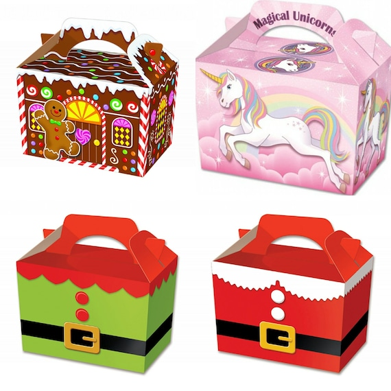 10 Christmas Elf Party Boxes Food Loot Lunch Cardboard Gift