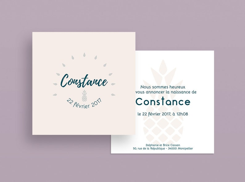 Birth announcement. Baptism  Constance Collection image 0