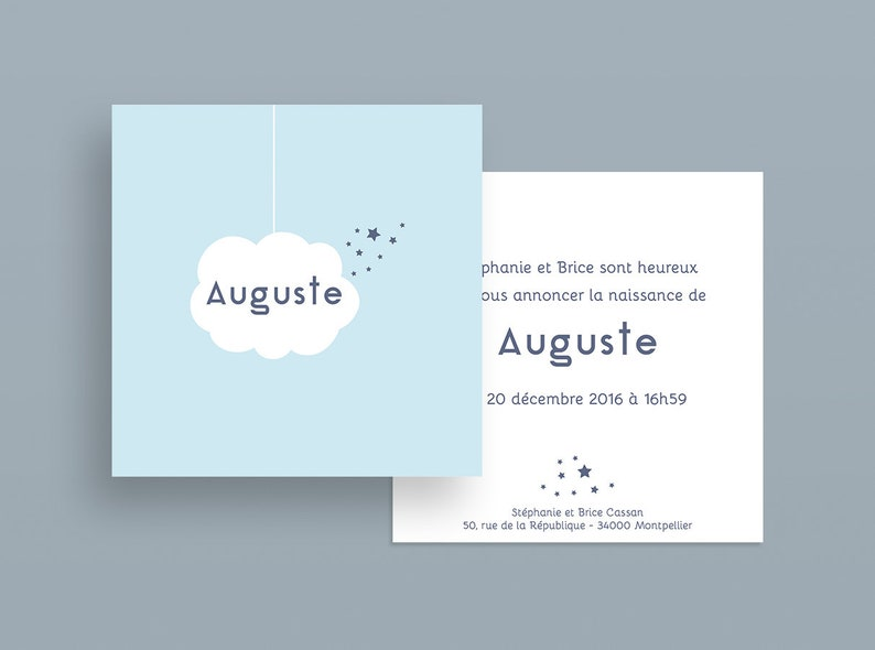 Birth announcement. Baptism  Auguste Collection image 0