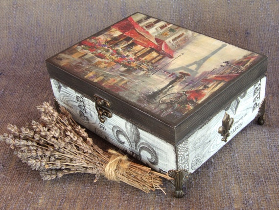 Jewelry box Shabby chi\u0441 box Chinoiserie vintage style Handmade Decorative box Romantic style decorative jar For deco glass canisters