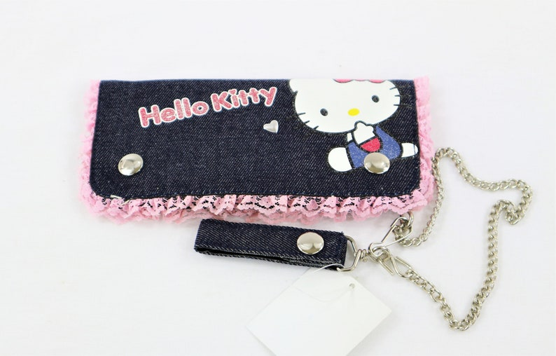 b9f84923b Hello Kitty Denim Wallet with Chain   Etsy