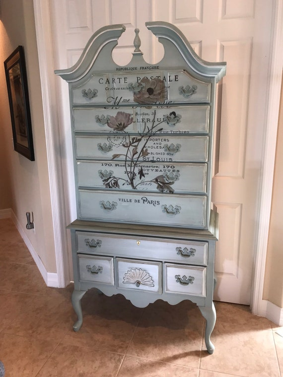 American Drew Highboy Dresser Chest Of Drawers Painted Etsy