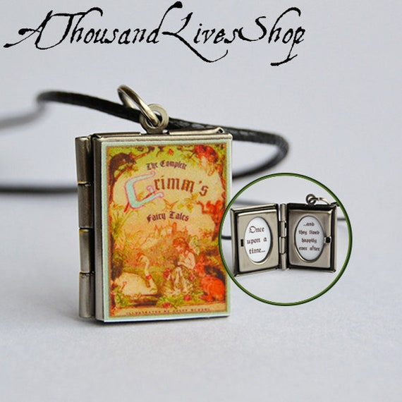 Auryn Charm Keychain Brooch Ring Bracelet Choker Pendant Necklace The NeverEnding Story Miniature Book Locket illustrations  quote inside