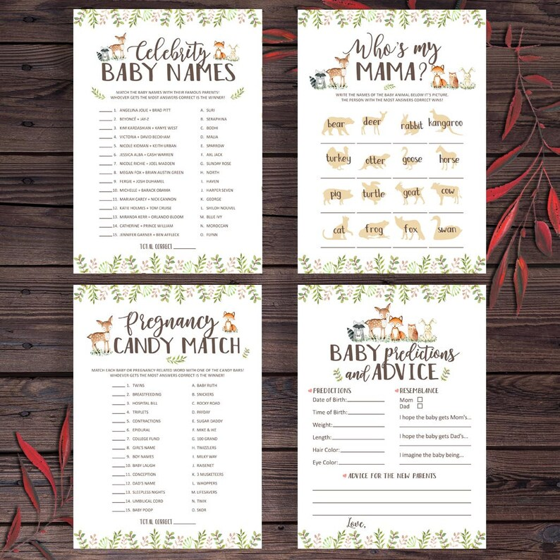 pxb12 Shower Game Package Printable Baby Shower Game Games Set Woodland Animal Baby Shower Games Pack Woodland Baby Shower Games Bundle