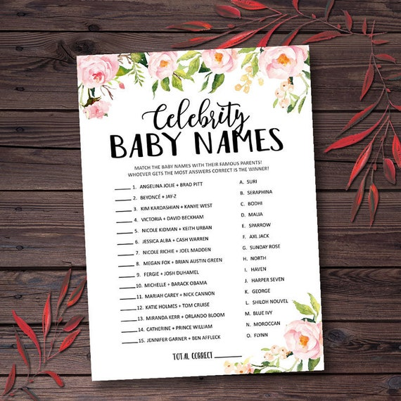 Celebrity Baby Names Baby Shower Games Instant Download | Etsy