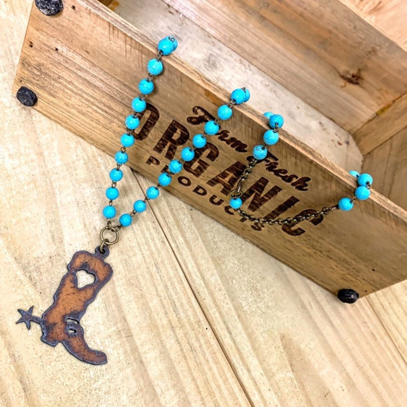 Western Jewelry Gift for Her Cowgirl Boot Necklace with Heart on Turquoise Beaded Chain
