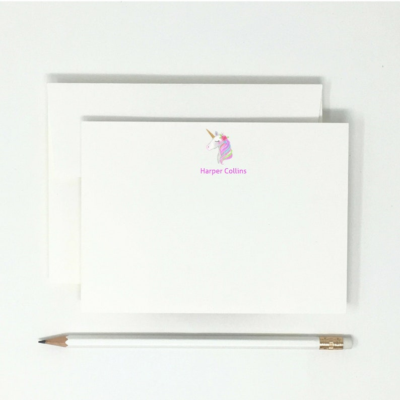 Personalized  Unicorn  Girls  High Quality  12 Note Cards  Thank You Notes  Stationary
