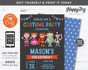 Costume Birthday Invitation, Kids Boy Costume Party Invite Printable, Editable Digital Template INSTANT Download Access, Self Edit co04