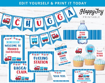 Chugga Choo Printable Package, Boy Turns Two Train Birthday, Banner, Favor Tag, Toppers, Sign Digital Printable DIY INSTANT Editable Corjl