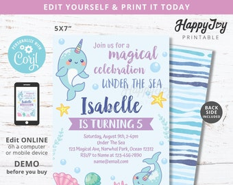 Narwhal Magical Party Invitation, Under the Sea Girl Summer Pool Birthday, Blue Purple, Editable Template INSTANT Download Access, Self Edit