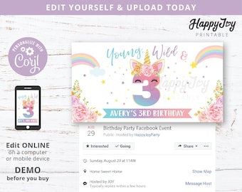Young Wild and Three, Facebook Event Banner, Girls Unicorn 3rd Birthday Party Invite, Editable Template INSTANT Digital Download, Self Edit