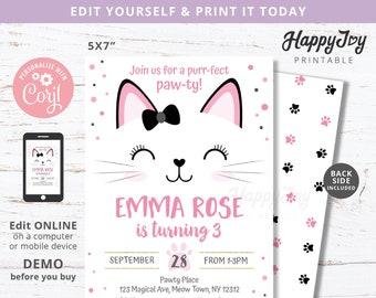 Kitten Birthday Pawty Girls Invitation, Purrfect Invite, Pink Black Cat Meow, Editable Digital Template INSTANT Download, Self Edit Corjl 03