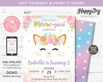 MEOWgical Birthday Kitten Invitation, Girls Purrfect Party Invite, Pink Gold Floral Cat, Editable Digital Template INSTANT Download Editable