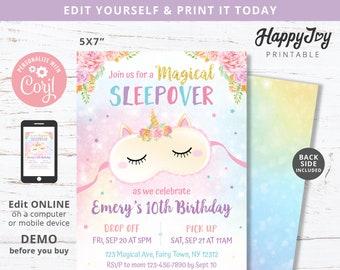 Sleepover Unicorn Birthday Invitation, Girls Slumber Party Invite, Glam Pink Purple, Editable Template INSTANT Download Access, Self Edit