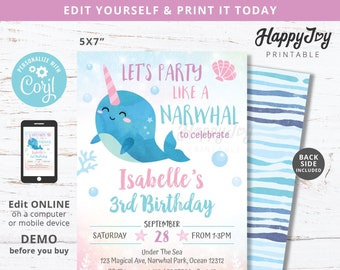 Narwhal Girls Pool Party Invitation, Magical Under the Sea Birthday, Pink Blue Purple, Editable Template INSTANT Download Access, Self Edit