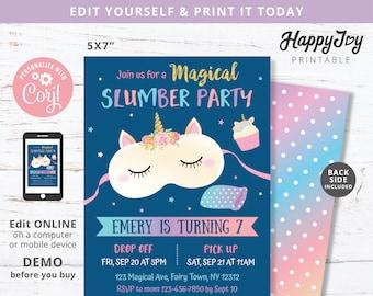 Slumber Party Night Invite, Unicorn Sleepover Girls Birthday Invitation, Editable Template INSTANT Digital Download Access, Self Edit Corjl