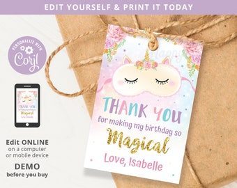Unicorn Sleepover Slumber Party Magical Birthday Favor Tag 2x3 Printable, Thank You Label Editable Template INSTANT Download, Self Edit