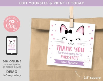Purrfect Kitty Birthday Pawty Square Favor Tag Printable, Cat Kitten Thank You Label Tag Editable Template INSTANT Download, Self Edit Corjl