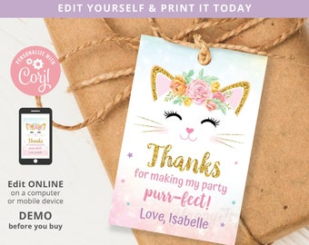 Purrfect Birthday Kitten Favor Tag 2x3 Printable, Meowgical Cat Thank You Label Tag Editable Template INSTANT Access, Self Edit Corjl cat10