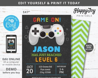 Console Game Party Invitation, Boys Video Gaming Birthday Invite, Dark Background, Editable Template INSTANT Access, Self Edit with Corjl