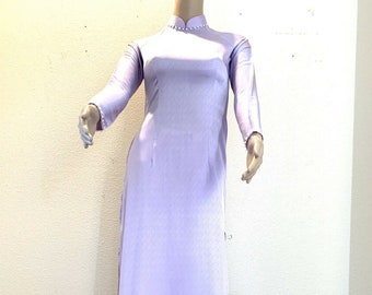 Made in the USA Purple flower 3D Embroidery 2 Layers Vietnamese Custom Traditional Ao Dai