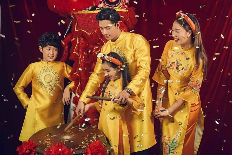 Matching Family Vietnamese Ao Dai Long Dress Free Priority Shipping