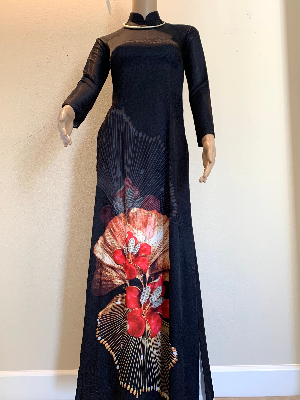 Free Priority shipping Ao Dai Vietnamese Long Dress with Pants