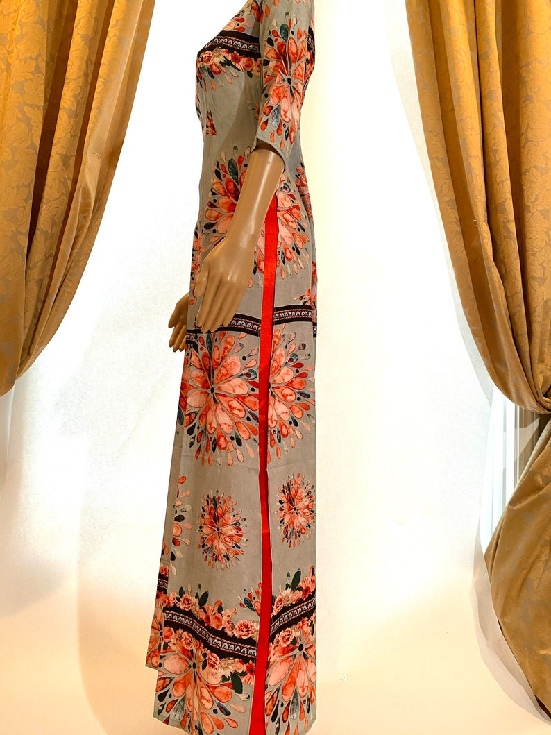 Vietnamese Ao Dai Silk with Pants Free Fast Priority shipping