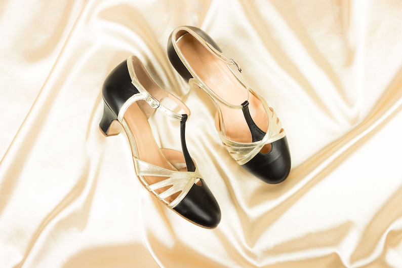 Women's 1920s Shoe Styles and History T-strap Heels Womens Leather Sandals Vintage Swing Shoes Mary Janes - Royal Black $183.67 AT vintagedancer.com