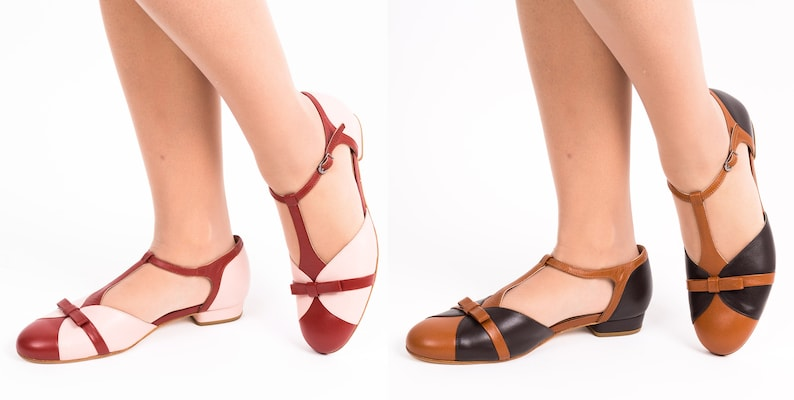 1920s Style Shoes, Heels, Boots T-strap Flat Shoes Womens Leather Sandals Vintage Swing Mary Janes - Red Rose $174.45 AT vintagedancer.com